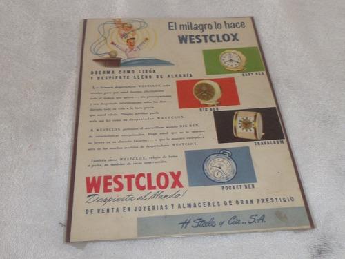 Imagen 1 de 1 de Antigua Publicidad De Relojes Despertadores Westclox Steelco