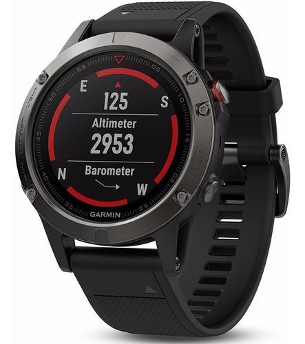Garmin Fenix 5 Gris Correa Silicona Negra 47mm Smartwatch