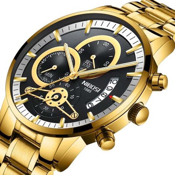 Relógio Nibosi 2309-1 Luxo Dourado Original Pronta Entrega