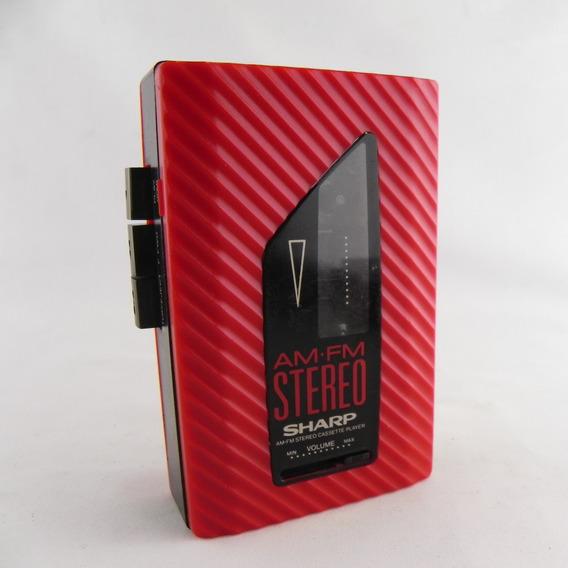 Rádio Toca Fita K7 Sharp Jc-135 Vintage Vermelho - Usado