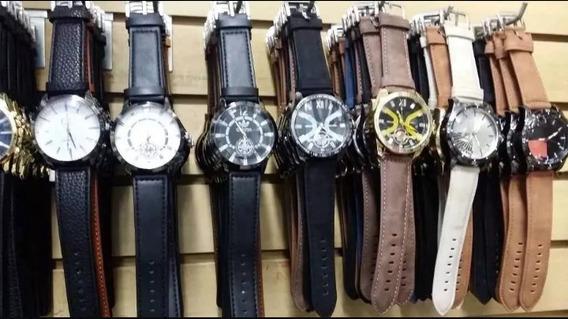 Kit Com 10 Relógios Masculino Couro Atacado Lote Revenda