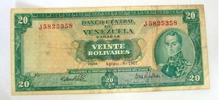 Billete De 20 Bs 1967 J7