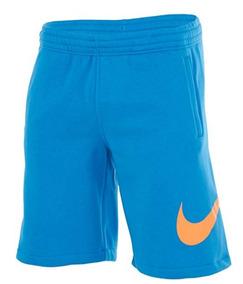 Bermuda Moletom Nike Club Explode Swoosh Azul Original