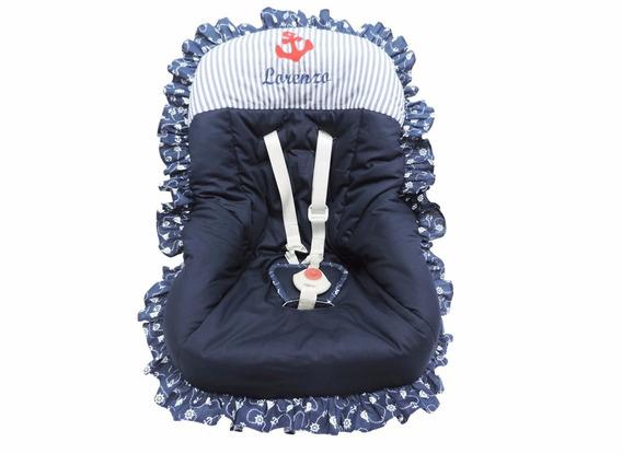 Capa Para Bebê Conforto Náutico Azul Marinho