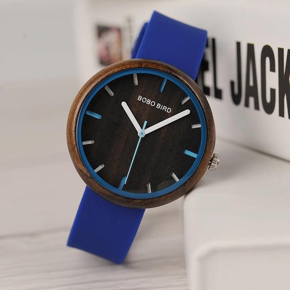 Relógio Unissex Madeira Analógico Bobo Bird R281 Azul - Top