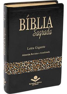 Bíblia Sagrada Letra Gigante Preto Alpha Capa Onça Ra