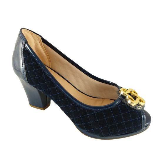Peep Toe Confort Sapato Matelassê Marinho