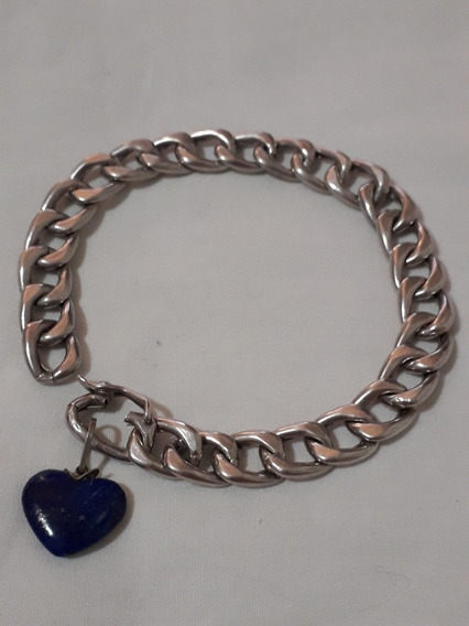 Pulseira Antiga Prata Ping Coração Lápis Lazuli - Top Antigu