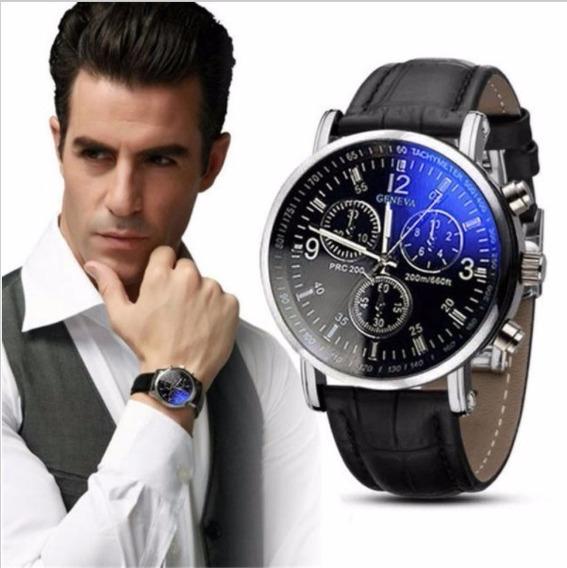 Relógio Masculino Pulso Social Geneva Pulseira Preta