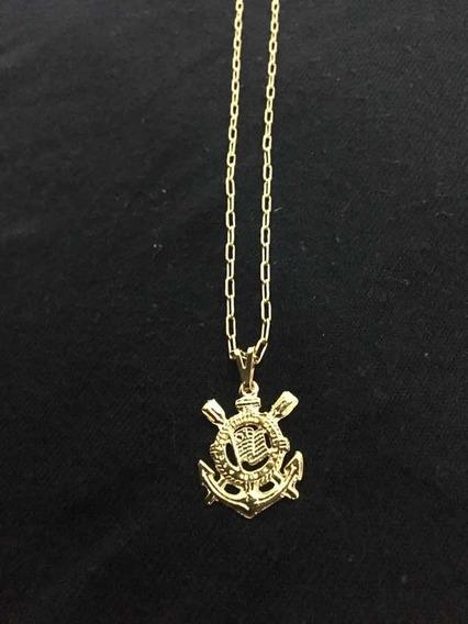 Correntes Cartier+pingente Corinthians Folheado Ouro 18k