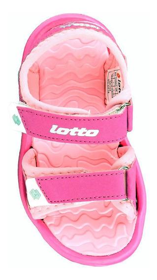 Sandalia Lotto Rosa Tropical Con Velcro - Nena Niña Ojotas