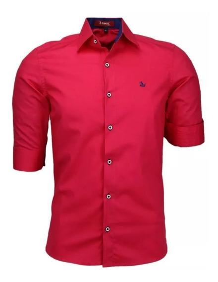 Camisa Casual Masculina Amil Slim Golfe 3/4 Algodão Lançamnt