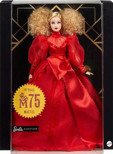 Barbie Vestido Rojo Signature 75 Aniversario Caja Coleccion