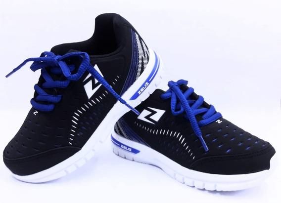Tênis Infantl Masculino Zeus Preto/azul 20 Ao 35 Promoção