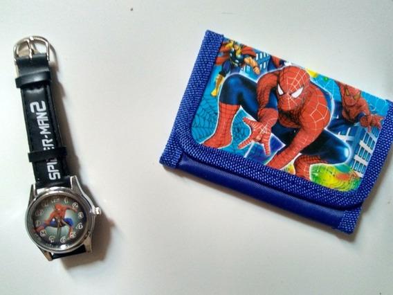 Relógio Infantil Homem Aranha Com Carteira + Brinde
