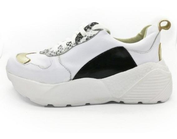Zapatillas Mujer Plataforma Sneaker Cuero 2020