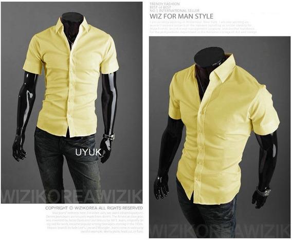 Camisa Casual Slim Fit Corte Pegado Modo Asiatica Mangacorta