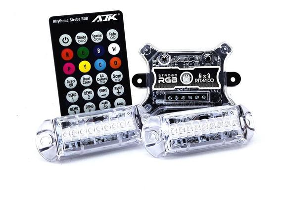 Kit Strobo Ajk Rgb Led 2 Faróis Forte + Controle Full