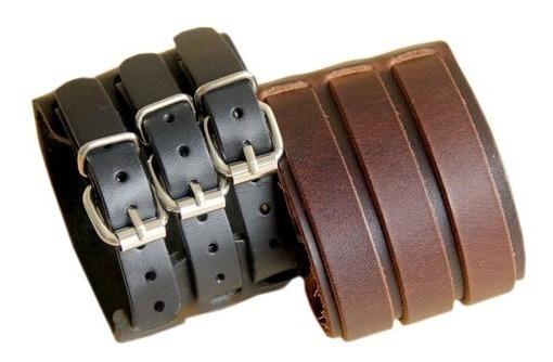 Pulseira Bracelete De Couro Legítimo 3 Fivelas Rock Roll