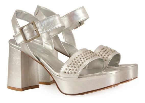 Sandalias De Fiesta Cuero Plata Con Tachas Mujer Batistella