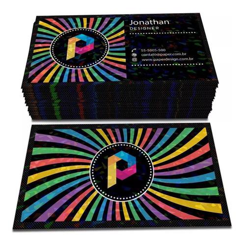 100x Cartão De Visita Holográfico Personalizado 300gr 4x4