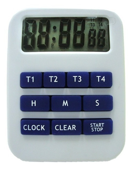 Timer Digital Luft 4 Registros Con Reloj Para Mesa O Colgar