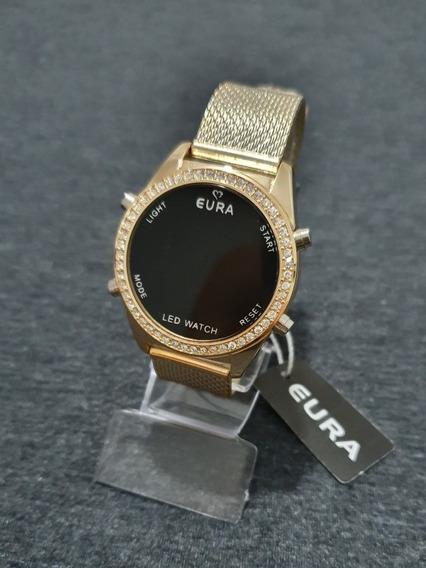 Relógio Dourado C/strass Feminino Digital/led Garantia Top