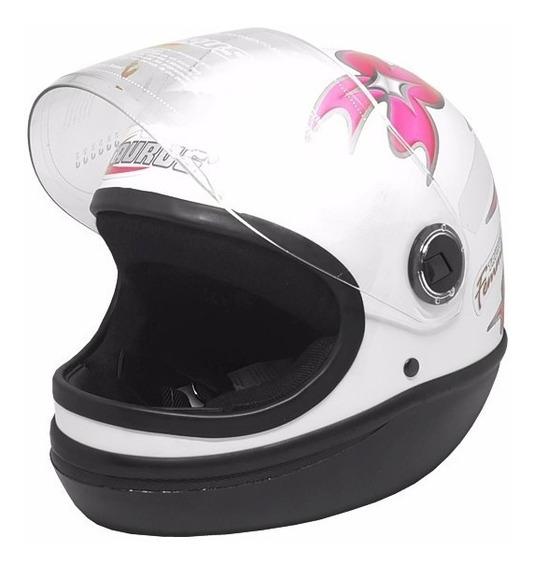 Capacete Fechado Formula 1 Taurus Branco Flores Rosa Tam 60
