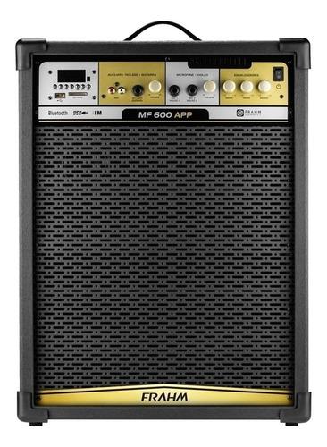 Caixa de som Frahm MF 600 APP portátil com bluetooth preta 90V/240V