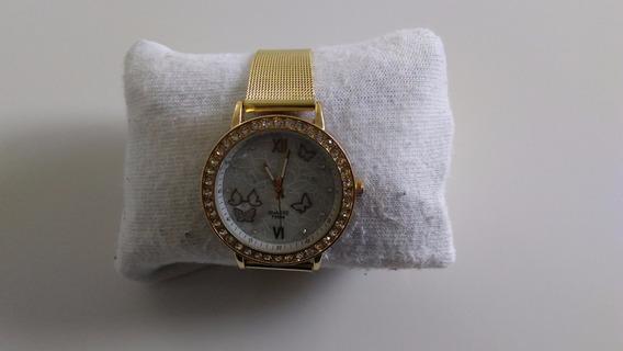 Relógio Feminino Pulseira Dourada Com Perola