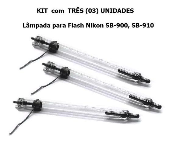 Kit Com 3 Lampadas De Flash Nikon Sb900, Sb910