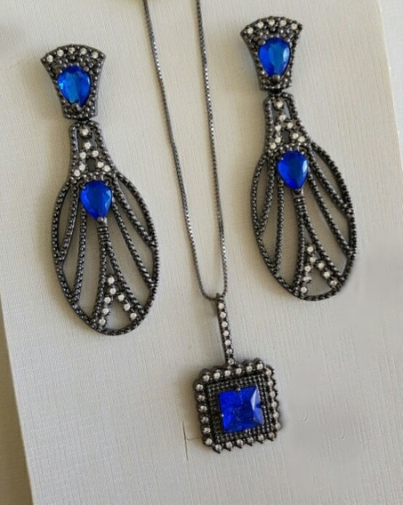 Conjunto Colar E Brincos Azul Safira + Zircônias Ródio Negro