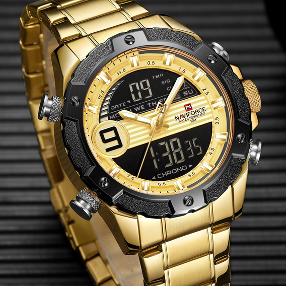 Relogio Masculino Digital Dourado Data Origina Naviforce