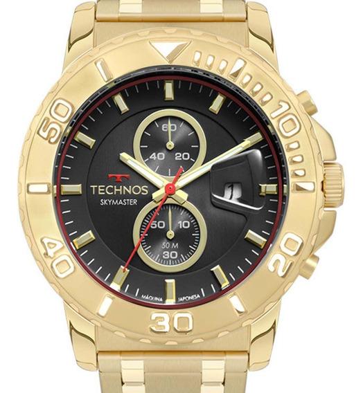 Relógio Technos Masculino Os11ed/4p Cronógrafo Dourado + Nf