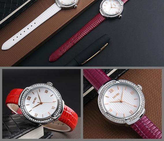 Relógio Feminino Skmei 9143 Original Pulseira Couro Luxo