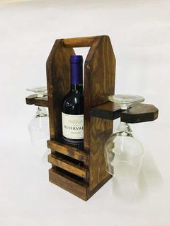 Porta Botella De Vino Y Copas, De Madera.