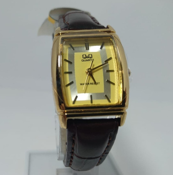 Relógio Q&q By Citizen Dourado Puls. Couro Marrom Q881j100y