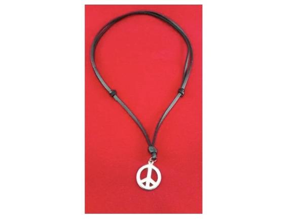 Colar Cordão Símbolo Da Paz Hippie Ajustável Super Barato