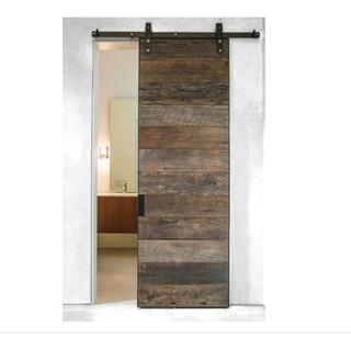 para puerta doble 167CM//5.5FT Puerta de granero corredera estilo r/ústico puerta de granero corredera de madera para armario puerta granero herraje colgadocon gu/ía rodamientos deslizantes