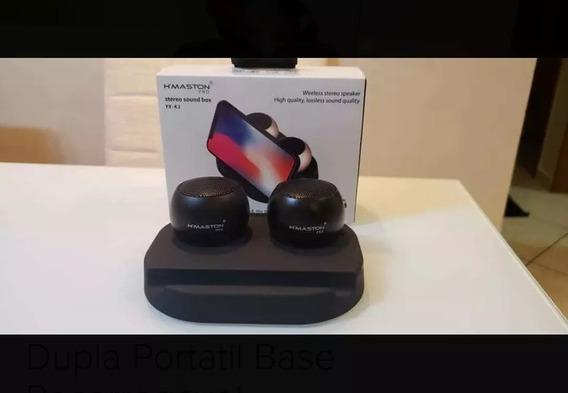 Mini Caixa De Som Bluetooth - Dupla + Base Carregamento Top