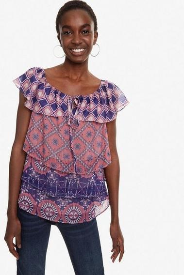 Blusa Dama Textil Rosa/azul Desigual