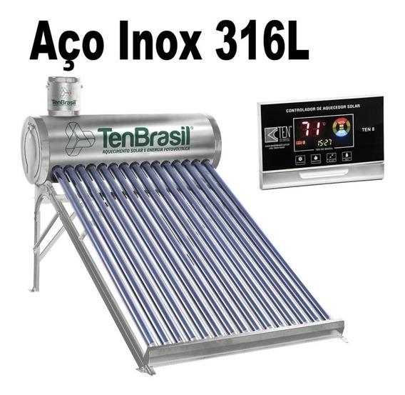 Aquecedor Solar Vácuo Acoplado 300 Lts 30 Tubos Aço 316l Cdt