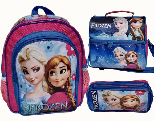 Imagen 1 de 9 de Set De Mochila Kinder Lonchera Térmica Lapicera Doble Frozen