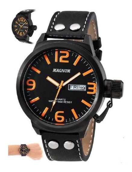 Relógio Magnum Preto/laranja Masculino Ma31524l