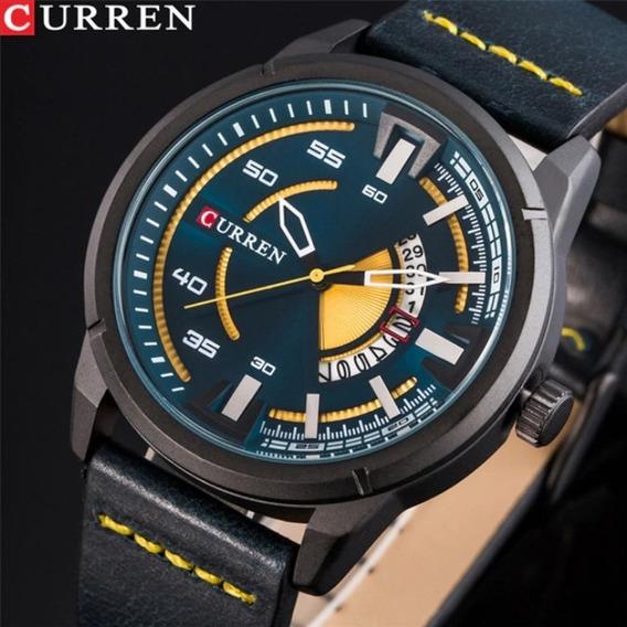 Relógio Curren 8298 Original De Luxo Com Calendário De Couro