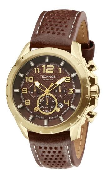 Relógio Masculino Couro Marrom Dourado Technos Js25bg/0m