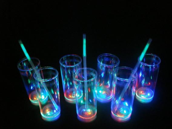 24 Vasos Luminosos 3 Led Cotillon Eventos Luces Con Boton