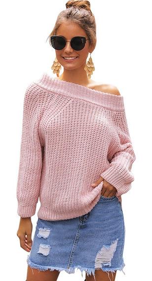 Suéter Fuera Del Hombro De Aguja Gruesa Suelta Para Mujer