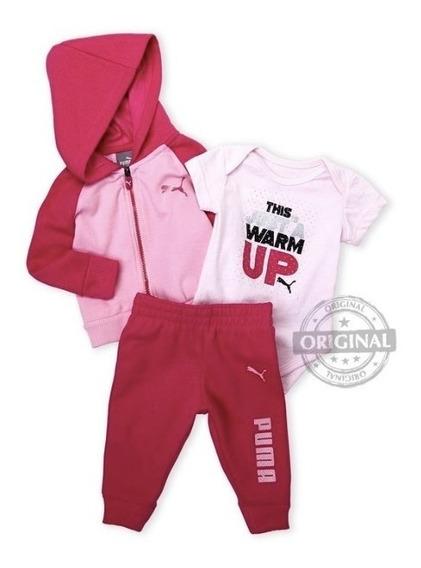 Conjunto 3pçs Inverno Menina Puma Calça Agasalho Bebe Frio Frio Abrigo Quentinho Capuz Rosa Pink Moletom Promoção