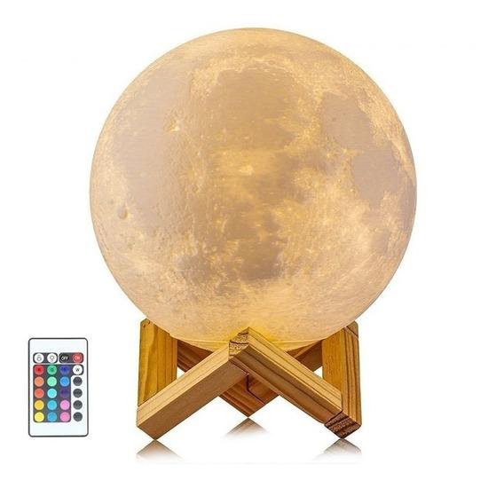 Luminária Lua Cheia 3d Abajur Usb Touch 18 Cm 16 Cor Controle